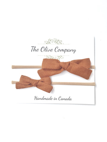 The Maggie Bow - Rust Linen