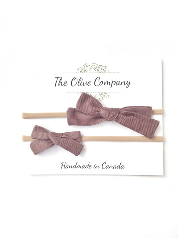 The Maggie Bow - Heather Corduroy