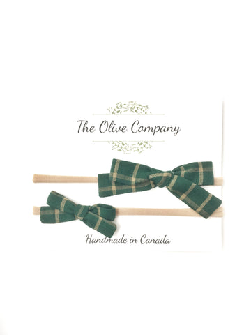 The Maggie Bow - Forest Plaid