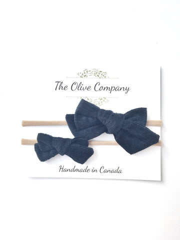The Ollie Bow - Navy Corduroy
