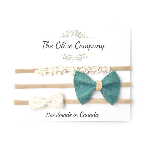 The Anise - A collection of three handmade bows on nylon headbands or metal clips