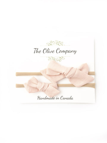 The Ollie Bow - Blush Linen