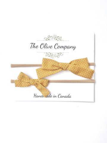 The Maggie Bow - Mustard Polka Dot