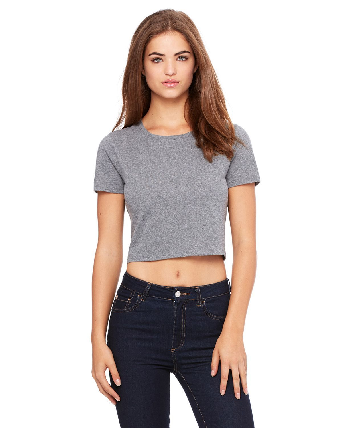 Watchill'n 'Cafe Racer' - Women's Crop Tee (Grey) - Watch Hill RI t-shirts with vintage surfing and motorcycle designs.