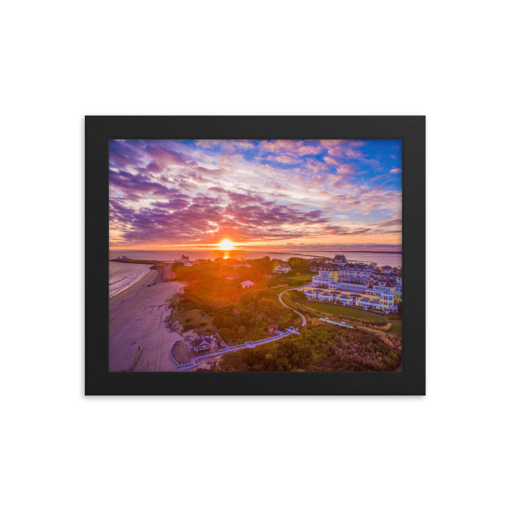Watch Hill Sunset Over East Beach, Framed poster - Watch Hill RI t-shirts with vintage surfing and motorcycle designs.