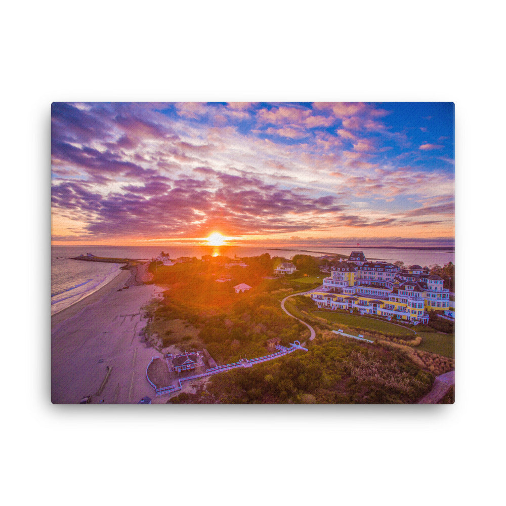 Watch Hill Sunset Over East Beach, Canvas Prints - Watch Hill RI t-shirts with vintage surfing and motorcycle designs.