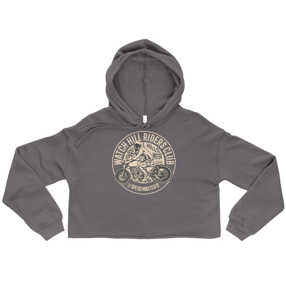 Watchill'n 'Riders Club' - Women's Cropped Fleece Hoodie (Tan) - Watch Hill RI t-shirts with vintage surfing and motorcycle designs.