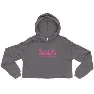 Watchill'n 'Coordinates' Logo - Women's Cropped Fleece Hoodie (Pink) - Watch Hill RI t-shirts with vintage surfing and motorcycle designs.