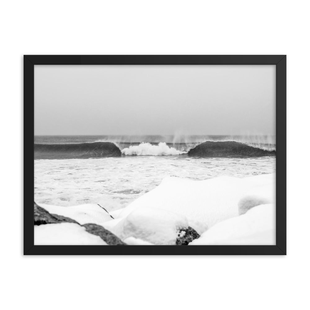 Watch Hill 'Winter Waves', Framed poster - Watch Hill RI t-shirts with vintage surfing and motorcycle designs.