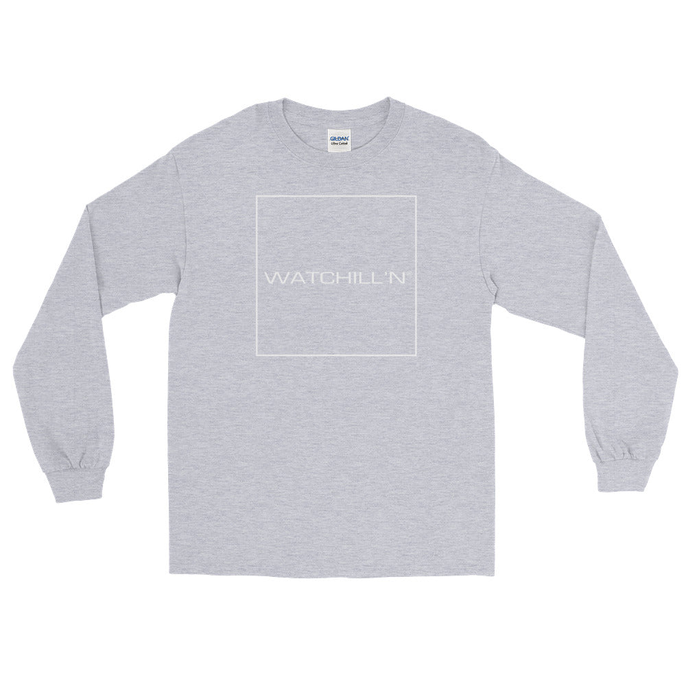 Watchill'n 'Box Logo' - Long Sleeve T-Shirt (White) - Watch Hill RI t-shirts with vintage surfing and motorcycle designs.