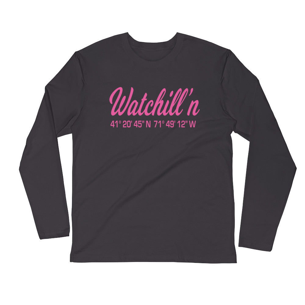 Watchill'n 'Coordinates' Logo Premium Long Sleeve Fitted Crew (Pink) - Watchill'n