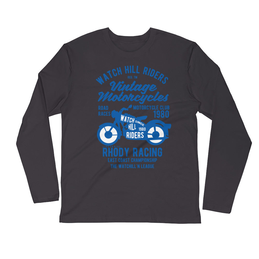 Watchill'n 'Vintage Motorcycles' Premium Long Sleeve Fitted Crew (Blue) - Watchill'n