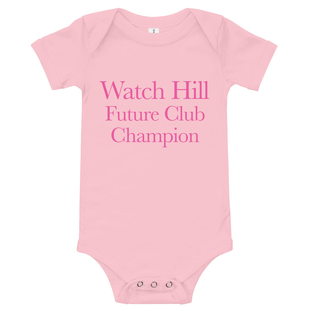 Watch Hill 'Club Champion' - Baby Jersey Short Sleeve One Piece (Pink) - Watch Hill RI t-shirts with vintage surfing and motorcycle designs.