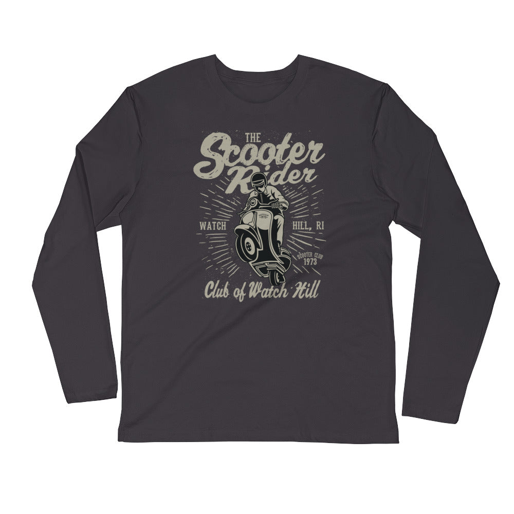 Watchill'n 'Scooter Rider' Premium Long Sleeve Fitted Crew (Grey/Black) - Watch Hill RI t-shirts with vintage surfing and motorcycle designs.