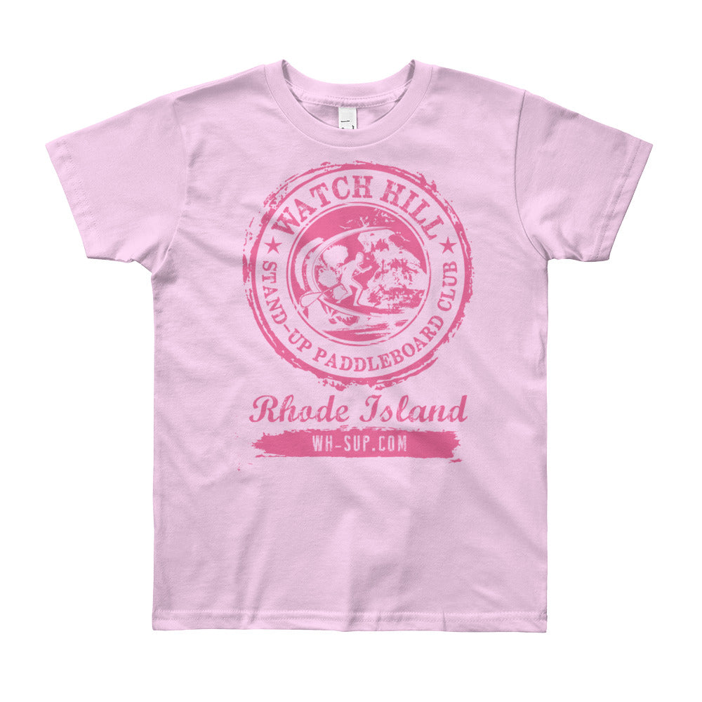 Watchill'n 'Paddle Board Club #3' - Youth Short Sleeve T-Shirt (Pink) - Watch Hill RI t-shirts with vintage surfing and motorcycle designs.