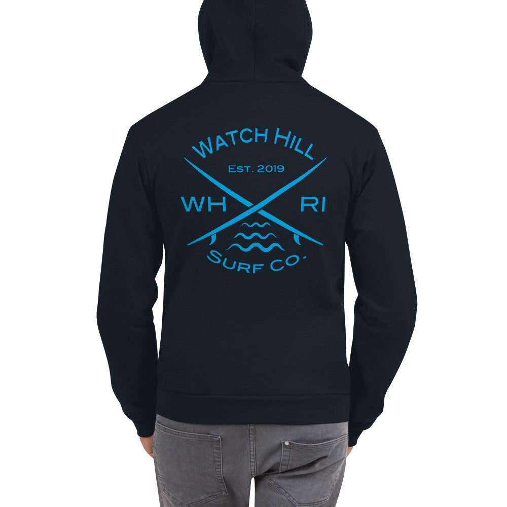 Watch Hill 'Surf Co.' Premium Hoodie sweater (Blue) - Watch Hill RI t-shirts with vintage surfing and motorcycle designs.