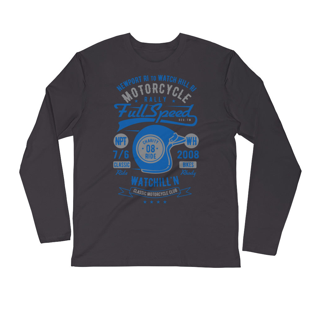 Watchill'n 'Full Speed' Premium Long Sleeve Fitted Crew (Grey/Blue) - Watch Hill RI t-shirts with vintage surfing and motorcycle designs.