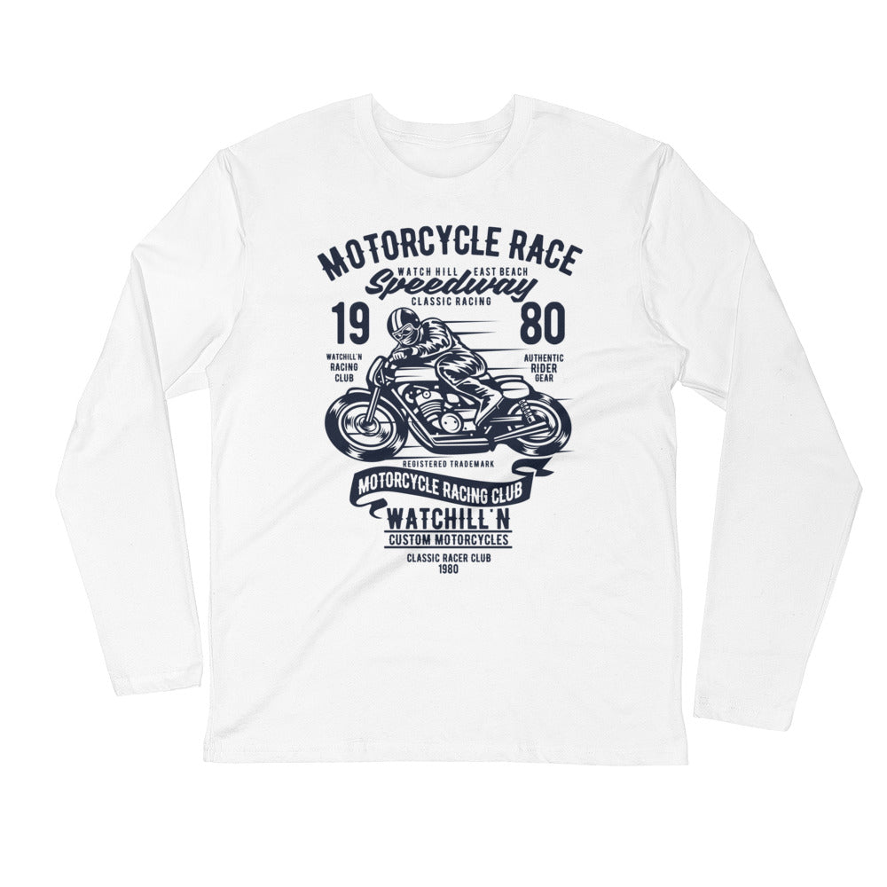 Watchill'n 'Speedway' Premium Long Sleeve Fitted Crew (Navy) - Watchill'n