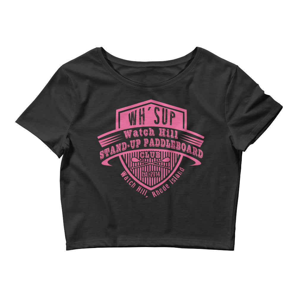 Watchill'n 'Paddle Board Club' - Women's Crop Tee (Pink) - Watch Hill RI t-shirts with vintage surfing and motorcycle designs.