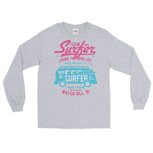 Watchill'n 'Team Surfer' - Long-Sleeve T-Shirt (Pink) - Watch Hill RI t-shirts with vintage surfing and motorcycle designs.