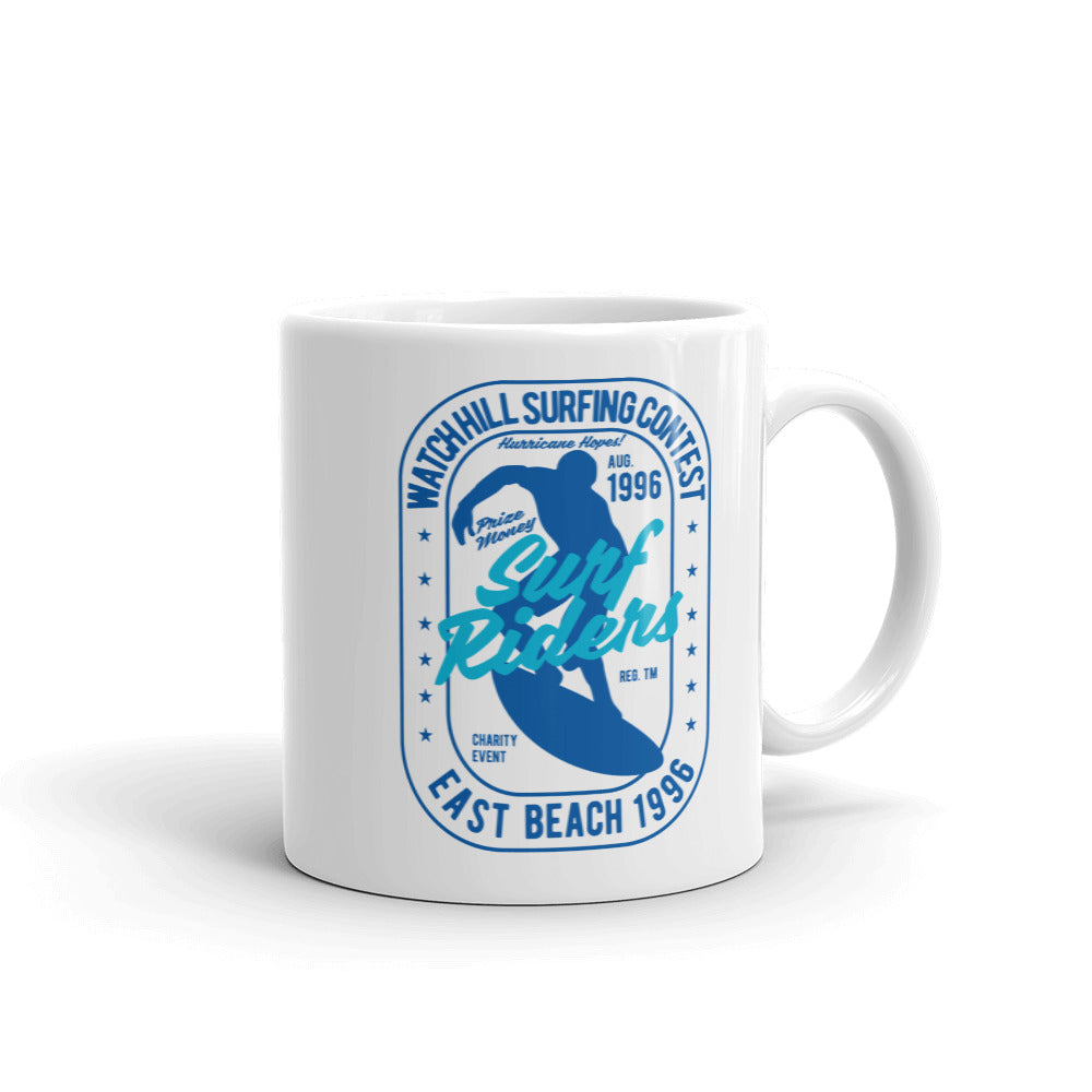 Watchill'n 'Surf RIder' Ceramic Mug - (Navy/Turquoise) - Watch Hill RI t-shirts with vintage surfing and motorcycle designs.