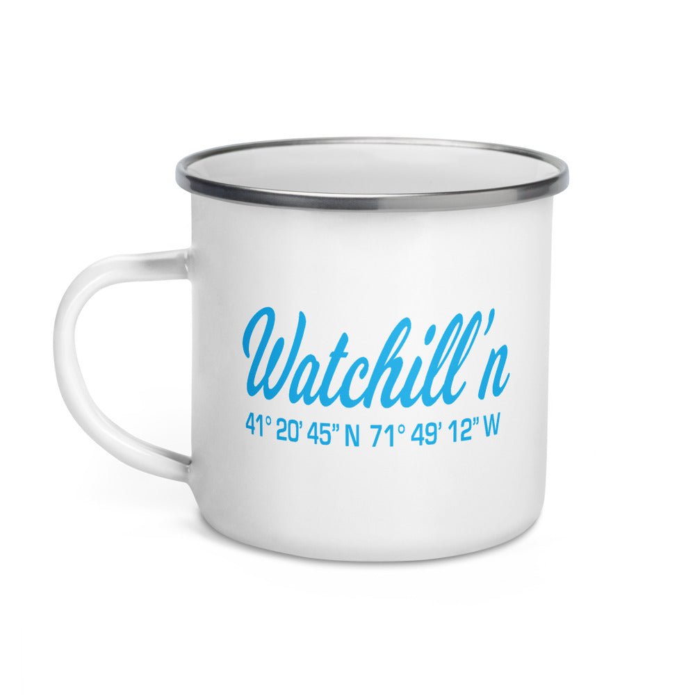 Watchill'n 'Coordinates' Enamel Mug (Cyan) - Watch Hill RI t-shirts with vintage surfing and motorcycle designs.