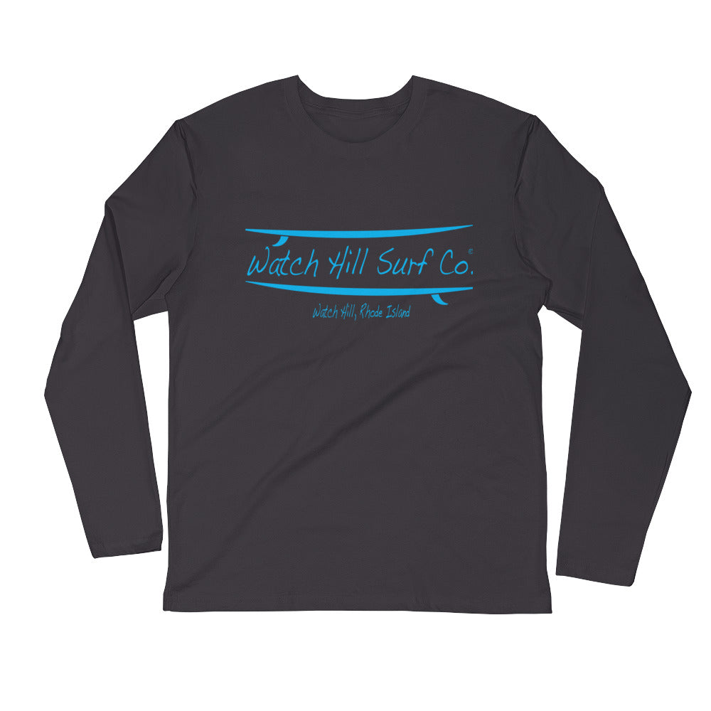 Watch Hill Surf Co. 'Parallel Boards' Premium Long Sleeve Fitted Crew (Cyan) - Watch Hill RI t-shirts with vintage surfing and motorcycle designs.
