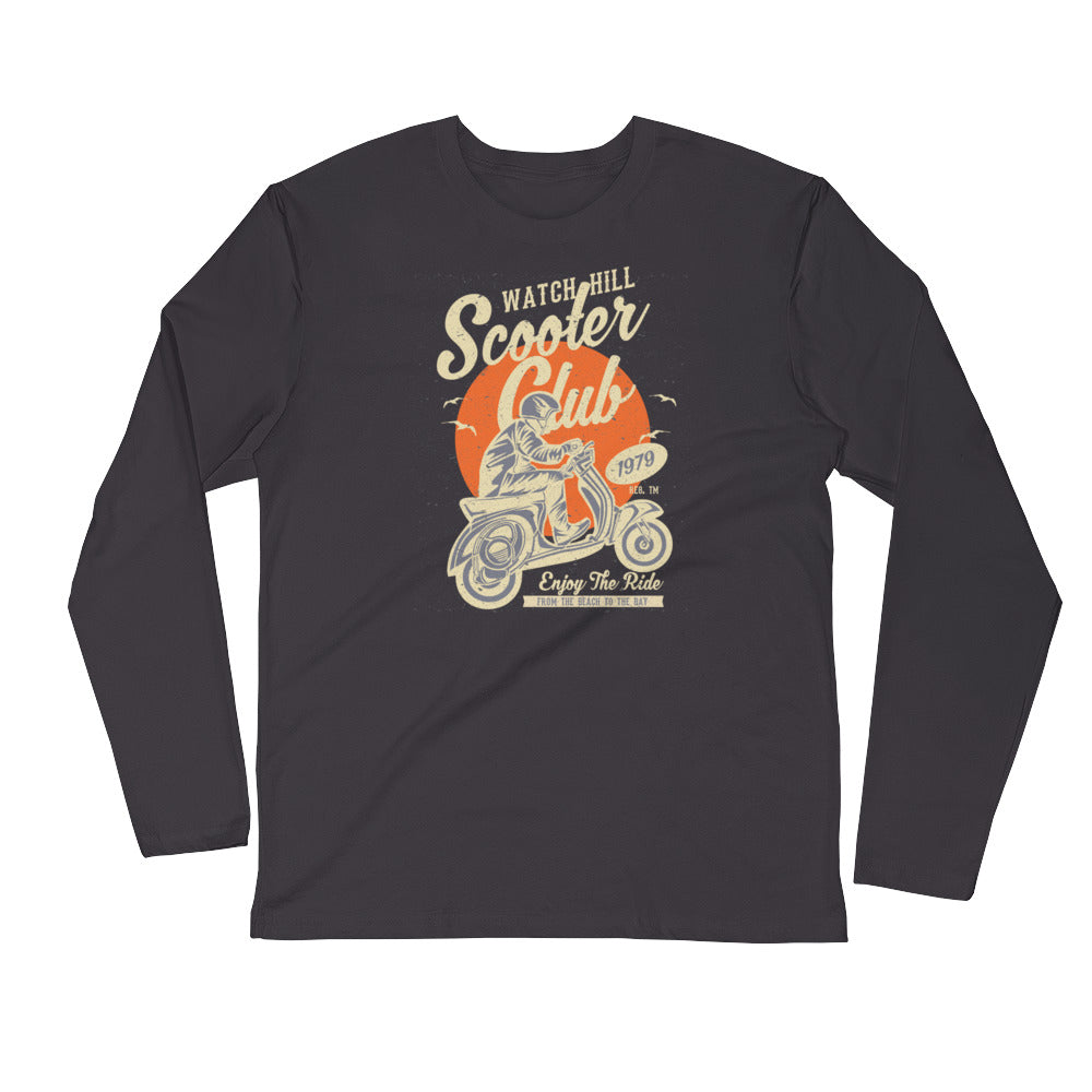 Watchill'n 'Scooter Club' Premium Long Sleeve Fitted Crew (Creme/Orange) - Watch Hill RI t-shirts with vintage surfing and motorcycle designs.