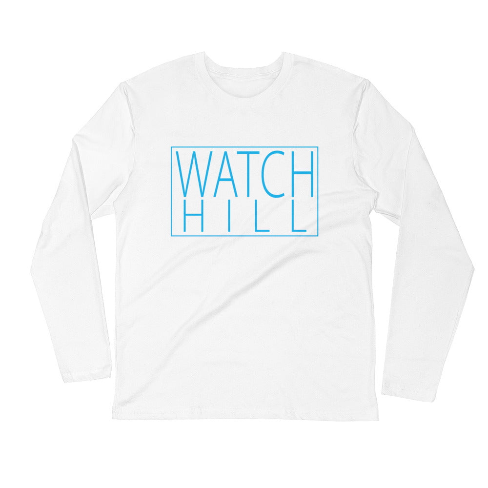 Watch Hill Rectangular Logo Premium Long Sleeve Fitted Crew (Cyan) - Watch Hill RI t-shirts with vintage surfing and motorcycle designs.