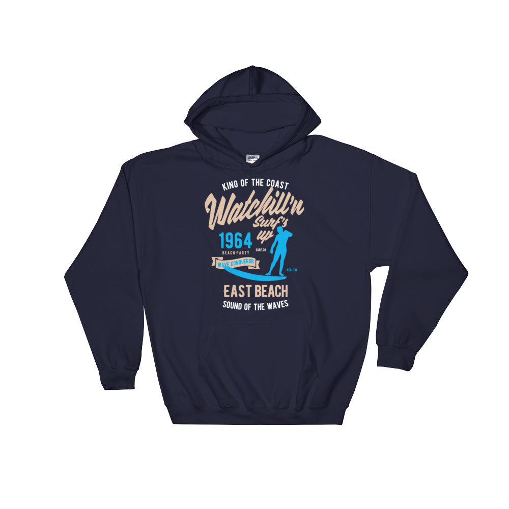 Watchill'n 'Surf's Up' - Hoodie (Khaki/Blue) - Watch Hill RI t-shirts with vintage surfing and motorcycle designs.