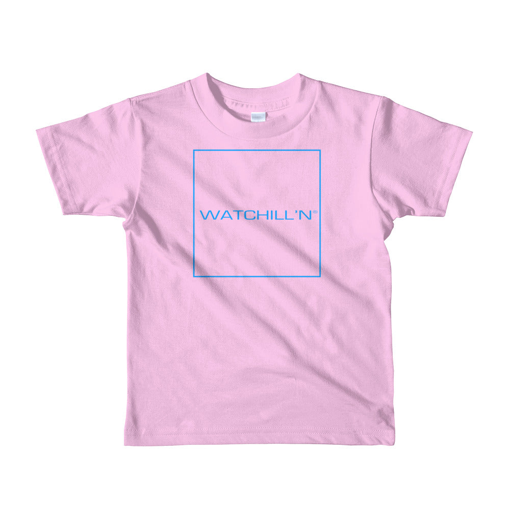 Watchill'n 'Box Logo' -  Short sleeve kids t-shirt (Blue) - Watch Hill RI t-shirts with vintage surfing and motorcycle designs.