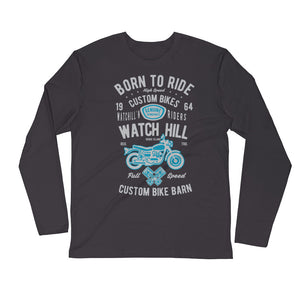 Watchill'n 'Born To Ride' Premium Long Sleeve Fitted Crew (Grey/Blue) - Watch Hill RI t-shirts with vintage surfing and motorcycle designs.