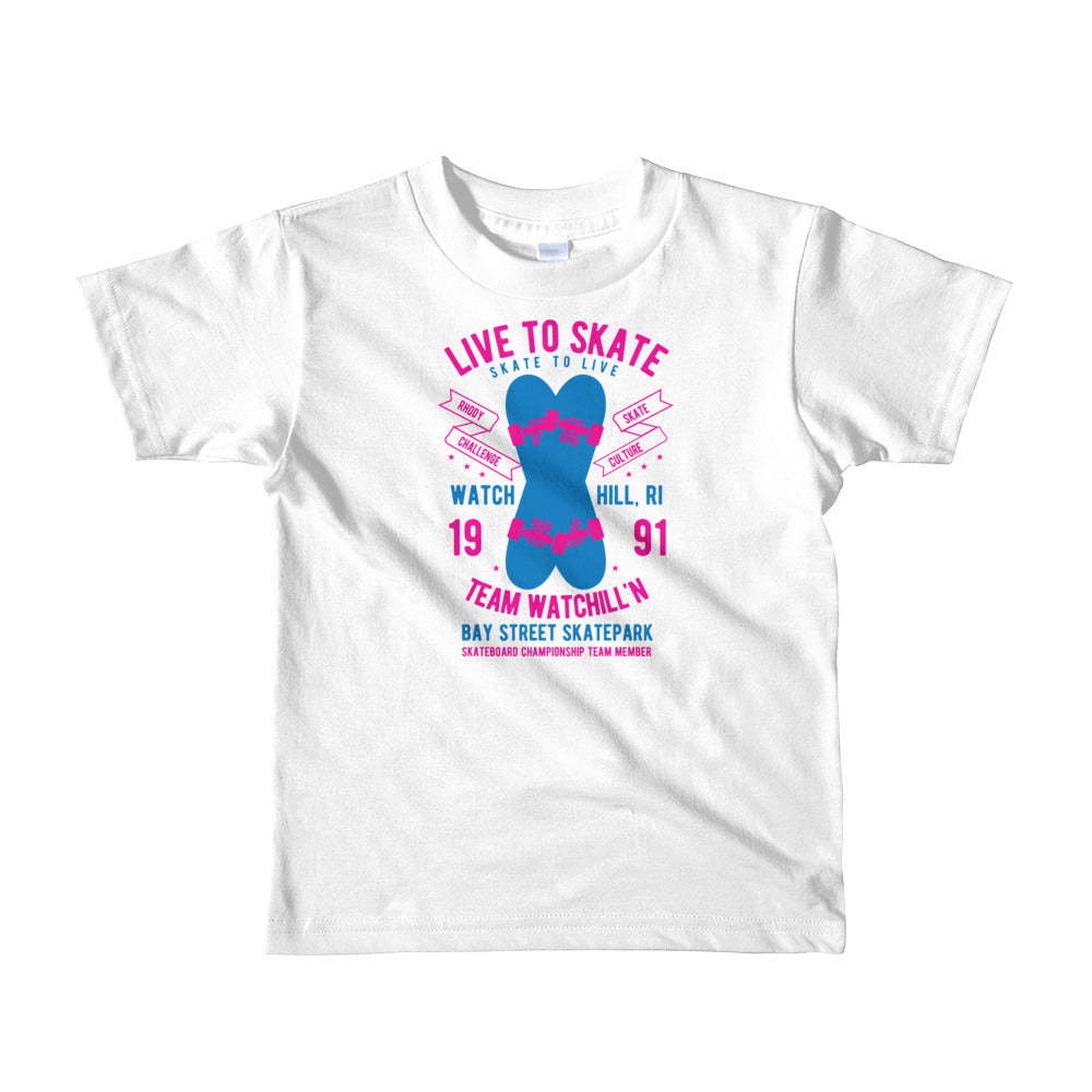 Watchill'n 'Live to Skate' - Short sleeve kids t-shirt (Pink/Blue) - Watch Hill RI t-shirts with vintage surfing and motorcycle designs.