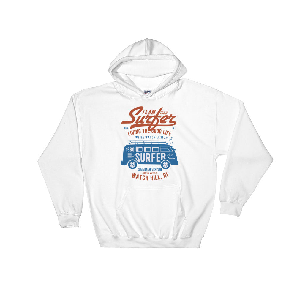Watchill'n 'Team Surfer' - Hoodie (Blue/Red) - Watch Hill RI t-shirts with vintage surfing and motorcycle designs.