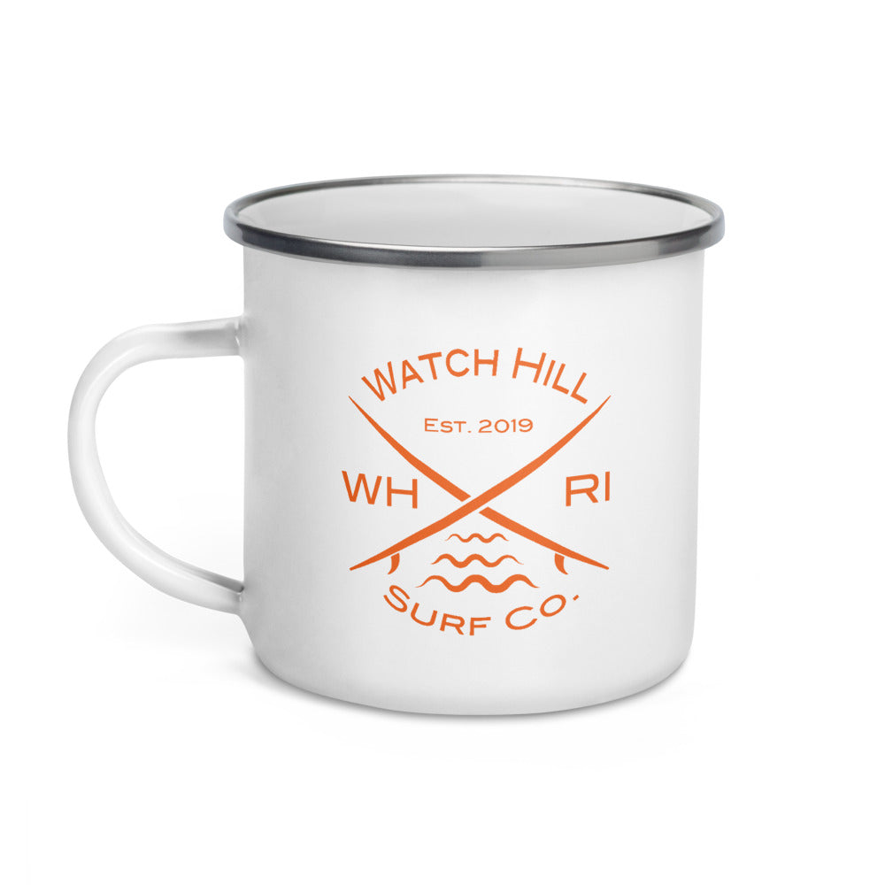 Watch Hill Surf Co. 'Crossed Boards' Enamel Mug (Orange) - Watch Hill RI t-shirts with vintage surfing and motorcycle designs.
