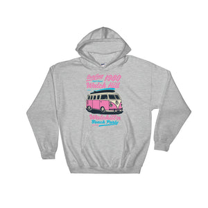 Watchill'n 'Beach Party' - Hoodie (Pink) - Watch Hill RI t-shirts with vintage surfing and motorcycle designs.