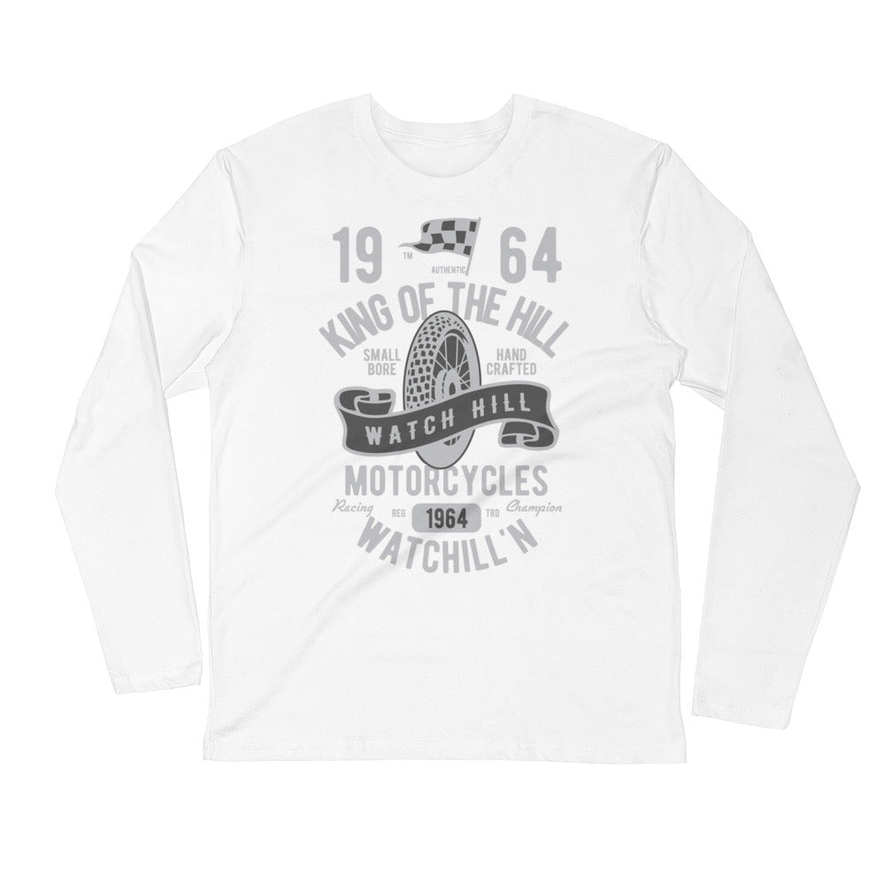 Watchill'n 'King of the Hill' Premium Long Sleeve Fitted Crew (Grey) - Watch Hill RI t-shirts with vintage surfing and motorcycle designs.