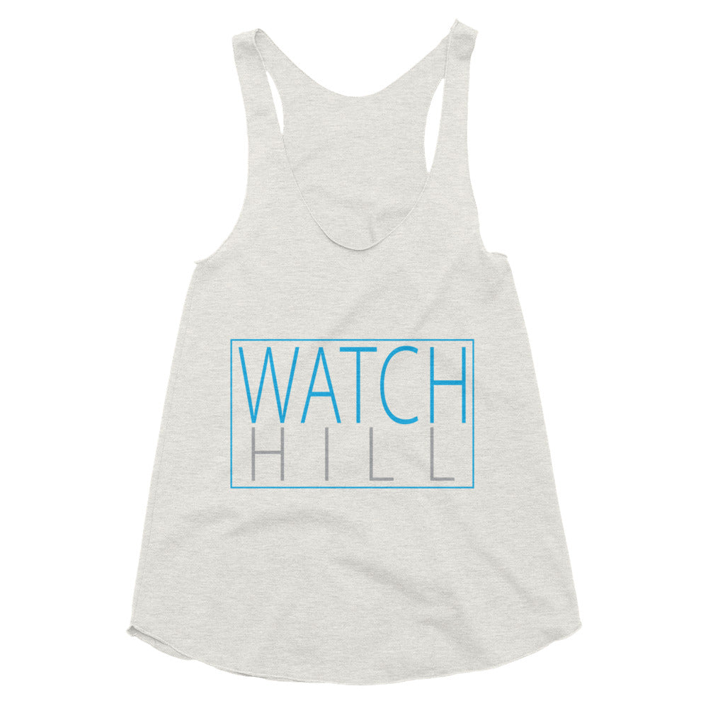 Watch Hill 'Rectangular Logo' Women's Tri-Blend Racerback Tank (Cyan/Grey) - Watch Hill RI t-shirts with vintage surfing and motorcycle designs.