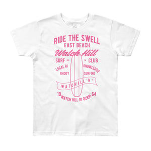 Watchill'n 'Ride the Swell' - Youth Short Sleeve T-Shirt (Pink) - Watchill'n