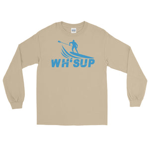 Watchill'n 'WH-SUP Paddle Boarding' - Long-Sleeve T-Shirt (Blue) - Watch Hill RI t-shirts with vintage surfing and motorcycle designs.