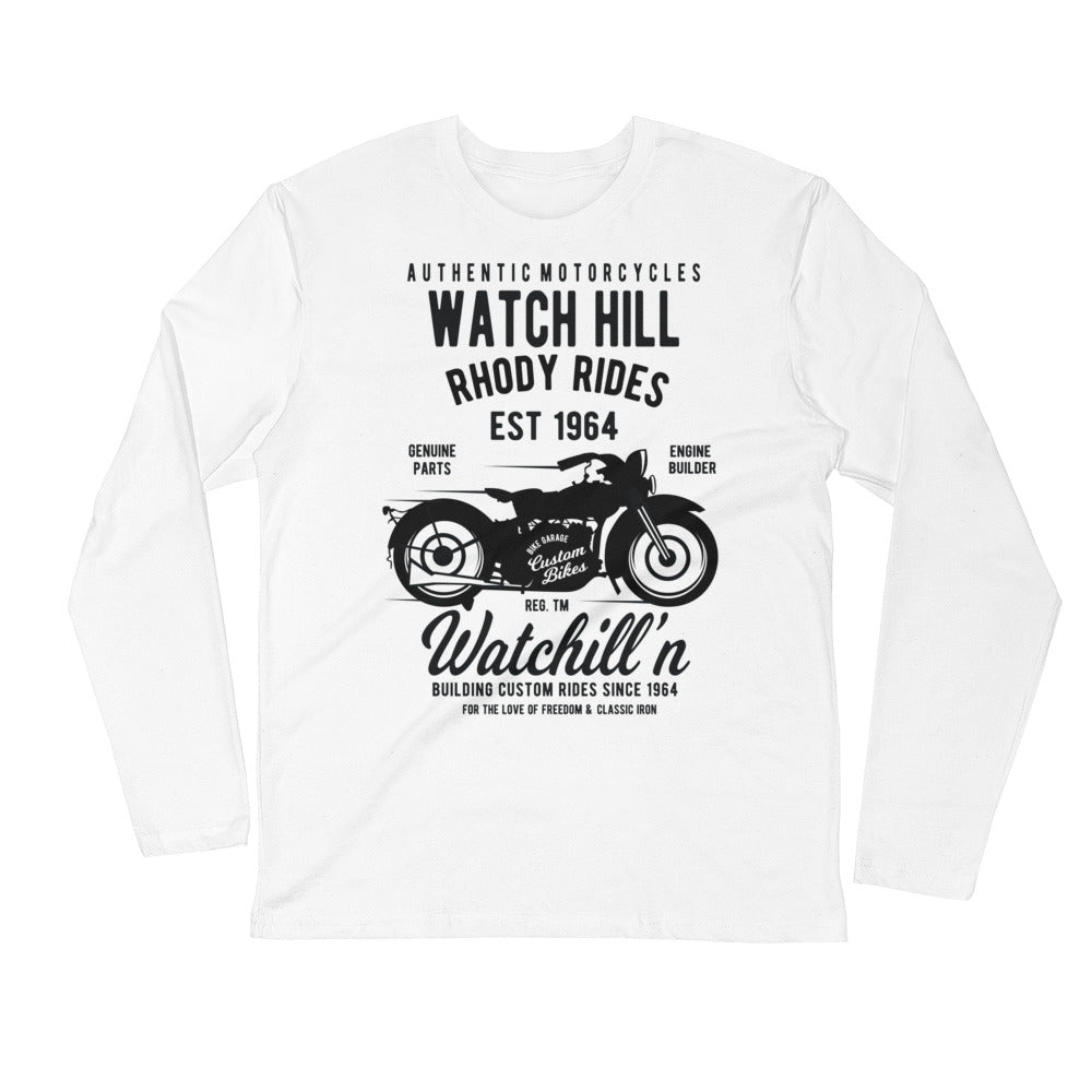 Watchill'n 'Rhody Rides' Premium Long Sleeve Fitted Crew (Black) - Watchill'n