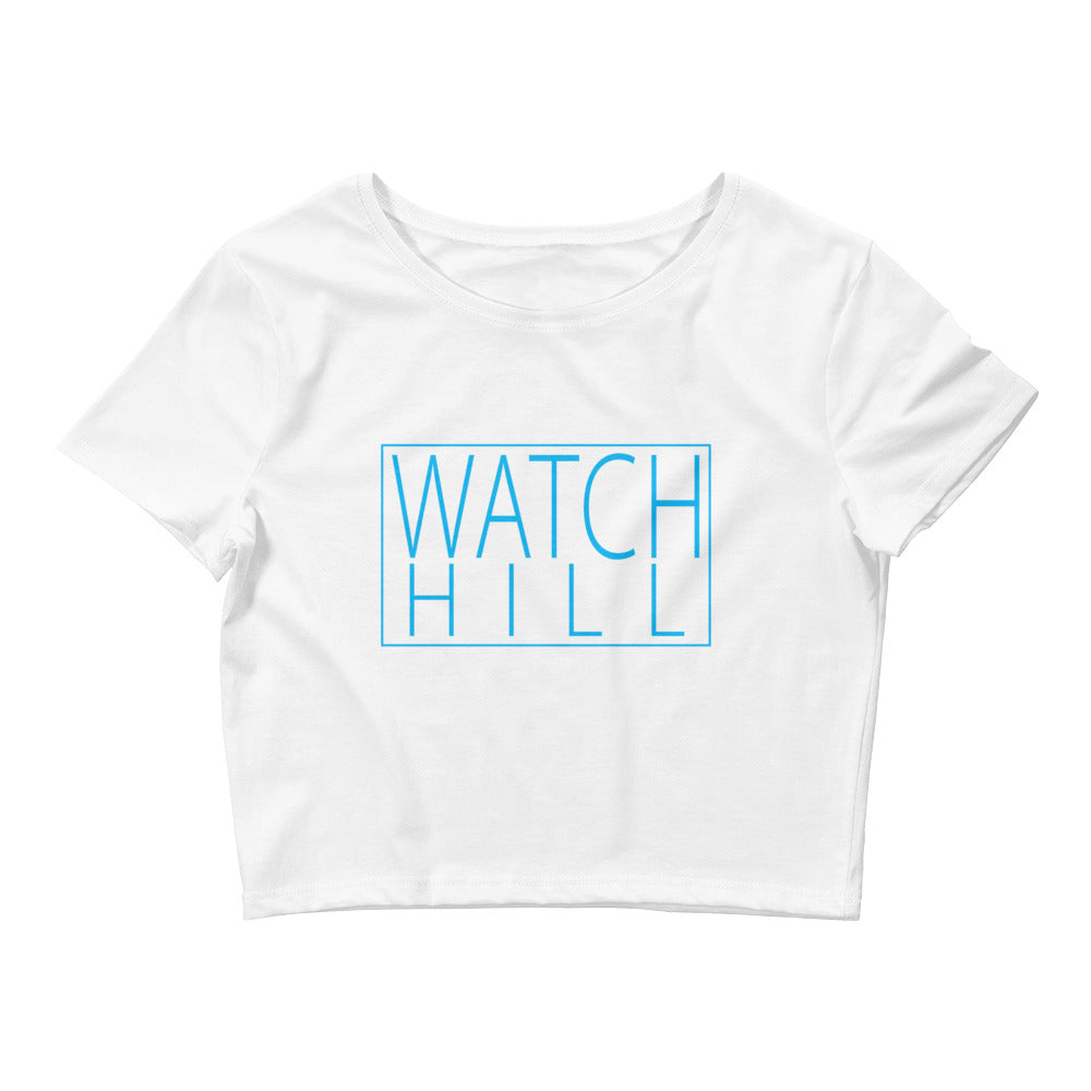 Watch Hill 'Rectangular Logo' - Women's Crop Tee (Cyan) - Watch Hill RI t-shirts with vintage surfing and motorcycle designs.