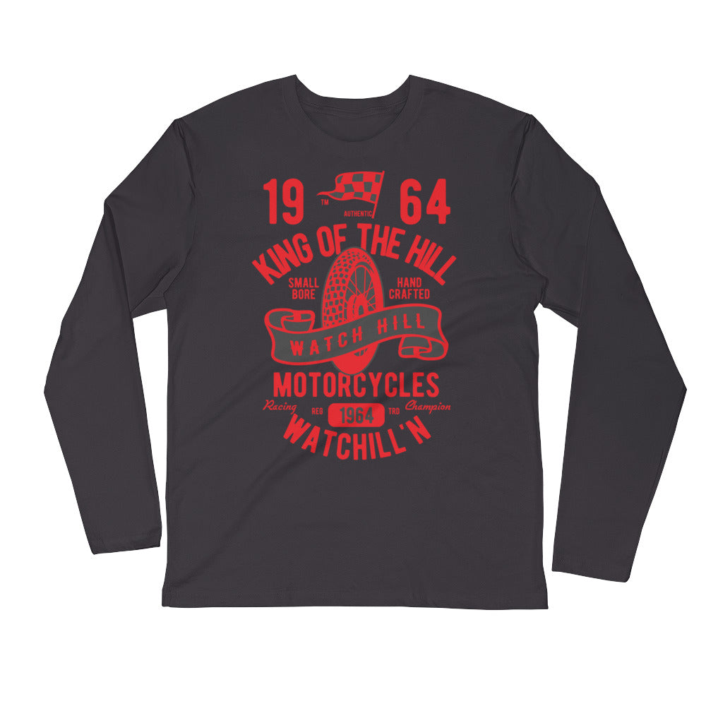 Watchill'n 'King of the Hill' Premium Long Sleeve Fitted Crew (Red/Black) - Watch Hill RI t-shirts with vintage surfing and motorcycle designs.