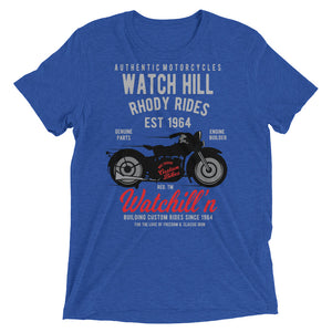 Watchill'n 'Rhody Rides' Unisex Short sleeve t-shirt (Grey/Red) - Watchill'n