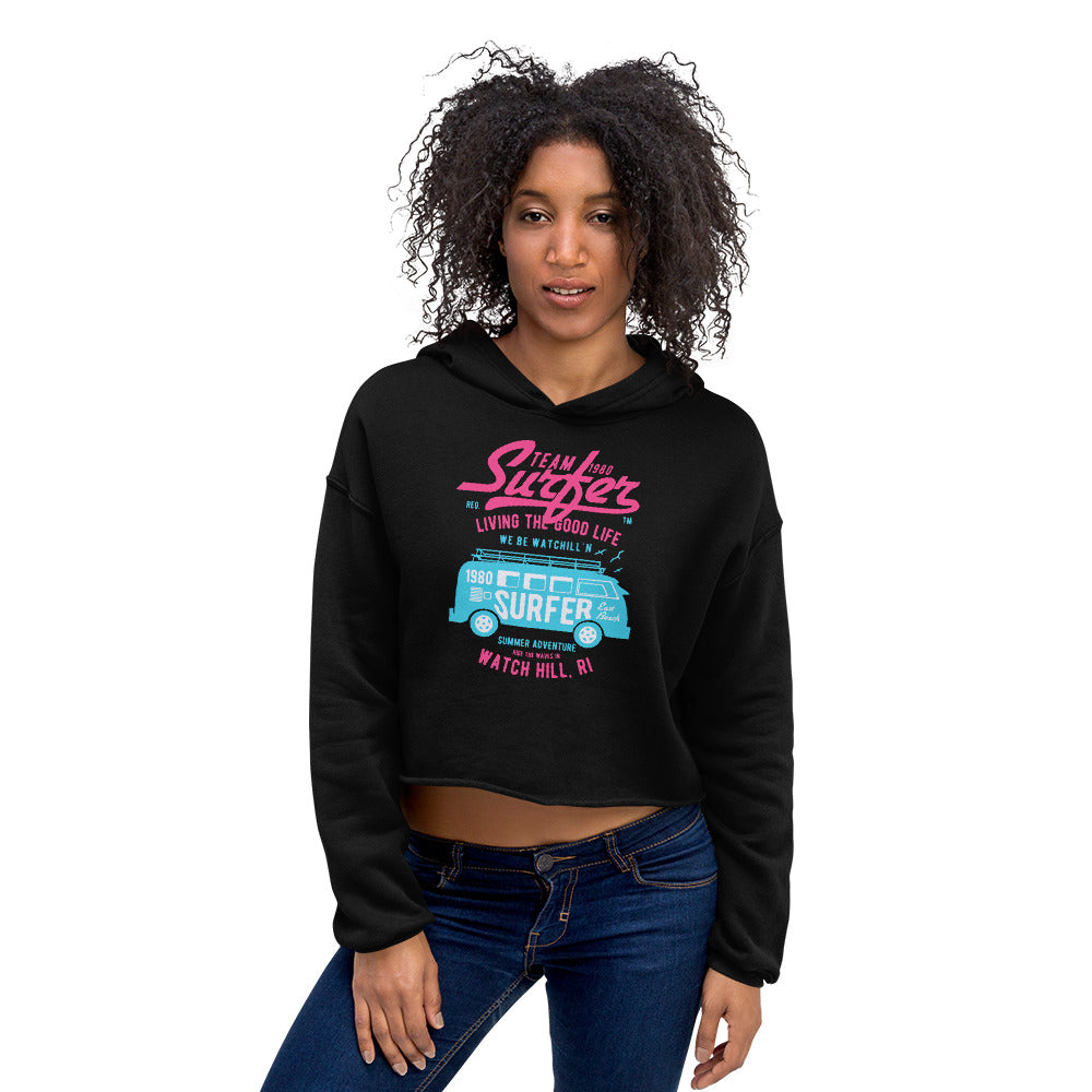 Watchill'n 'Team Surfer' - Women's Cropped Fleece Hoodie (Pink/Turquoise) - Watch Hill RI t-shirts with vintage surfing and motorcycle designs.