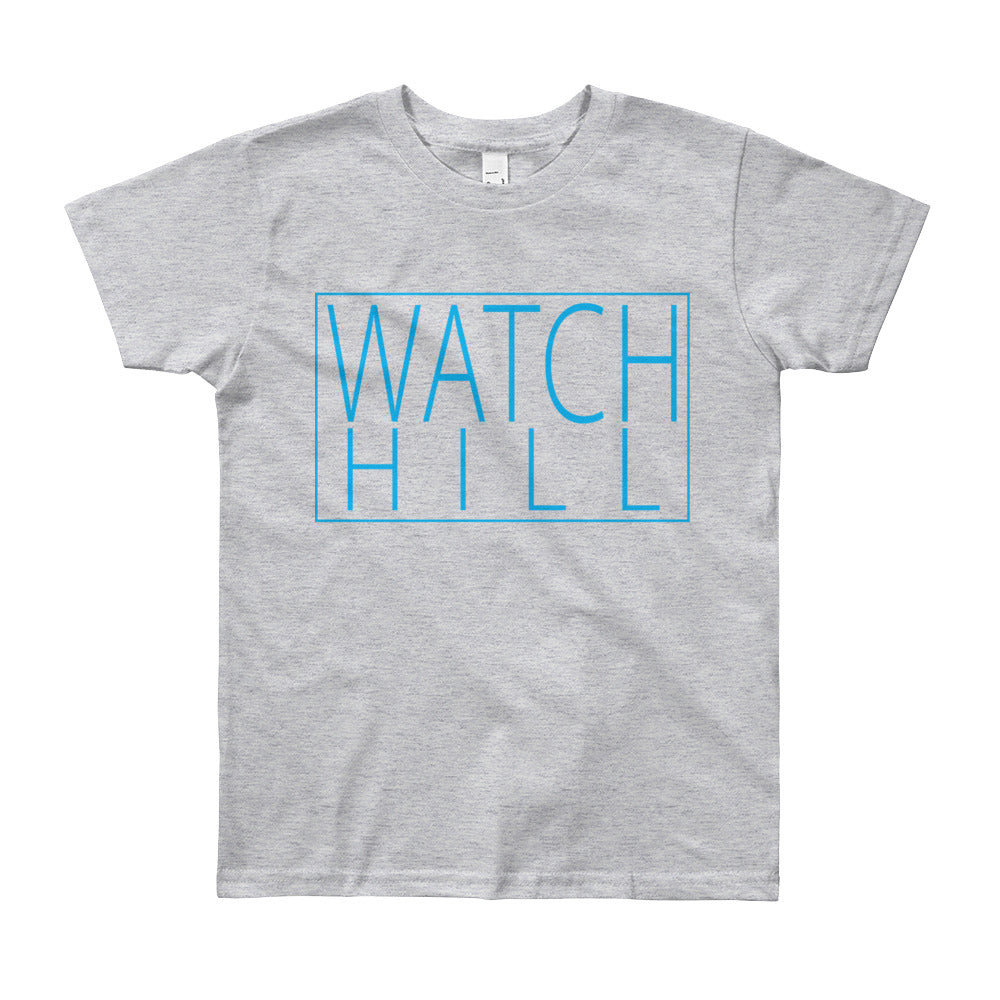 Watch Hill 'Rectangular Logo' - Youth Short Sleeve T-Shirt (Cyan) - Watch Hill RI t-shirts with vintage surfing and motorcycle designs.
