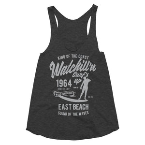 Watchill'n 'Surf's Up' - Women's Tri-Blend Racerback Tank (Grey) - Watch Hill RI t-shirts with vintage surfing and motorcycle designs.