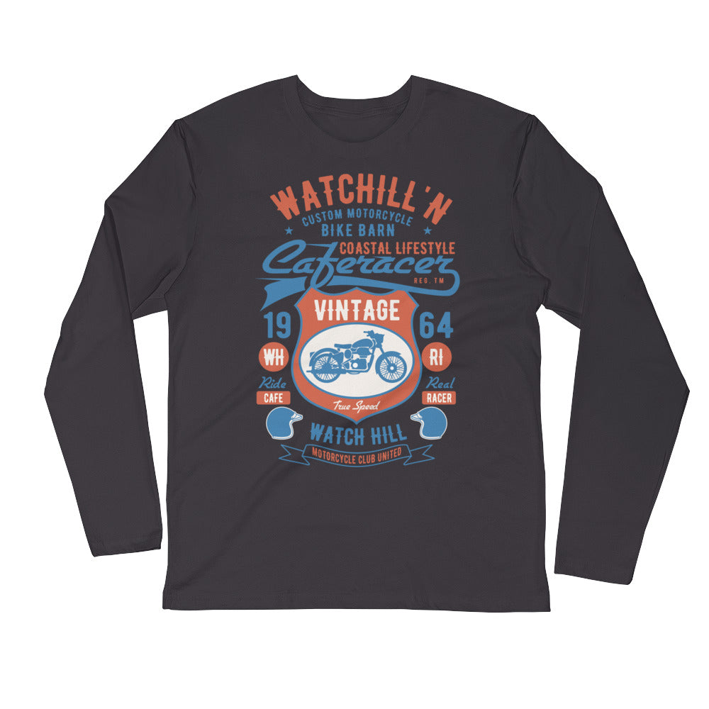 Watchill'n 'Bike Barn' Premium Long Sleeve Fitted Crew (Rust/Lt Blue) - Watch Hill RI t-shirts with vintage surfing and motorcycle designs.
