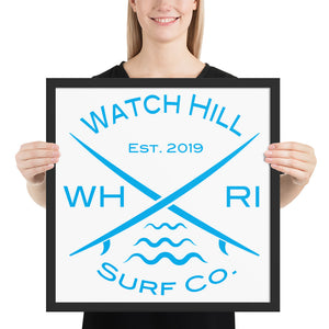 "Watch Hill Surf Co. ""Crossed Boards"", Framed poster - Watch Hill RI t-shirts with vintage surfing and motorcycle designs."