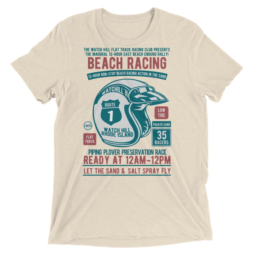 Watchill'n 'Beach Racing' Unisex Short sleeve t-shirt (Teal/Rust) - Watch Hill RI t-shirts with vintage surfing and motorcycle designs.